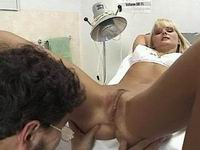 Doctor do anal massage and cumshot