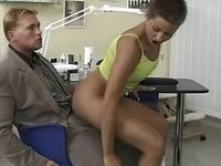 Wild brinette anal fucking on chair