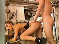 Man fucking cute chick in workshop