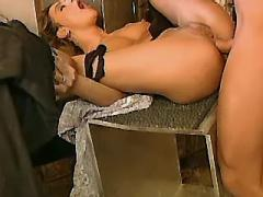 Beauty enjoy anal sex in workshop