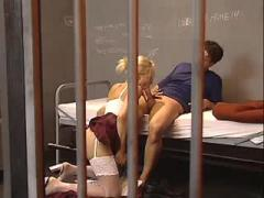 Hot blonde lawyer get cum in prison