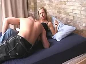 Chesty horny blond licked and sucks