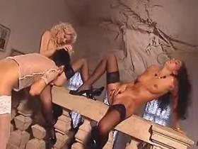 Lesbians in stockings make sex orgy