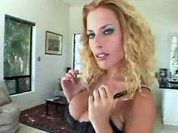 Very sexy blond lezzie shows her big tits and pink pussy