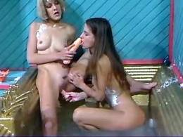 Lezzie gets hand in pussy