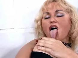 Blond lezzie fucks herself with candle