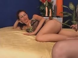 Two sexy roomies masturbate on sofa
